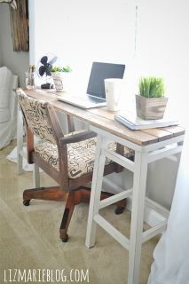 diy barstool desk, diy, painted furniture, repurposing upcycling, This desk was really simple simply laying the boards across the barstools and screwing them into the stools