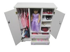 "Details About Doll Wardrobe Armoire Fits 18"" Doll Furniture Storage Closet Solid…"
