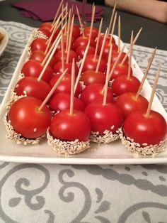 Tomates cerises caramélisées au sésame