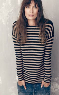 The Francophile's Style Guide: Striped top, blue & tan coloured.