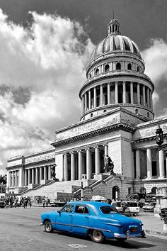 Capitolio from Cuba Today Collection by artist Dawn Currie featured today in All Nostalgia. The Cuban capitol in Havana in stunning black and white boldly contrasted with the intense blue of the vintage automobile driving by. These antique automobiles provide taxi service for countless visitors looking to step back in time while touring the capitol city. #Cuba