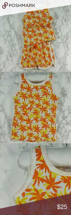 Orange Palms Tank Top 2 pc set. Kids Adorable orange tank top 2 pc set with shorts.  Very cute item.  This item is brand new and never used. Matching Sets
