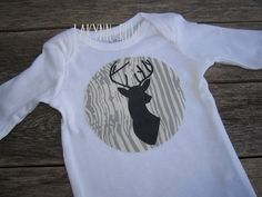 Deer Antler Silhouette Lil Hunter Onesie. Daddy's little boy by LakynnRow. baby shower gift, toddler swag, graphic tee raglan, glitter, personalize, woodland, outfit