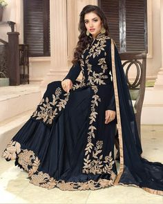 Purchase Online Bold Black Georgette Designer Embroidery Salwar Suit - Women's style: Patterns of sustainability Indian Designer Outfits, Indian Outfits, Designer Dresses, Indian Gowns, Pakistani Dresses, Lehenga, Dress Suits, Women's Suits, Mode Outfits
