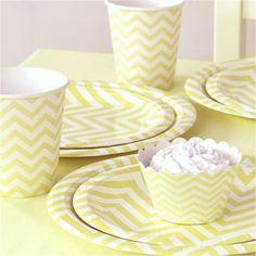 Tableware Set - Yellow Chevron from The TomKat Studio Party Shop shoptomkat.com