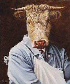 AstroSpirit / Taurus ♉ / Earth / The Bull / Taureau / Le boucher / Huile sur panneau