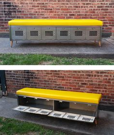 Useful for seating & storage, this unique bench is created from a 6 door, vintage set of steel lockers.