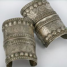 Pakistan | Antique silver bracelets from Balochistan | ca. late 19th to mid 20th century.