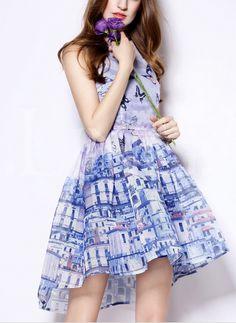 Blue Printed Sleeveless Dress on Luulla