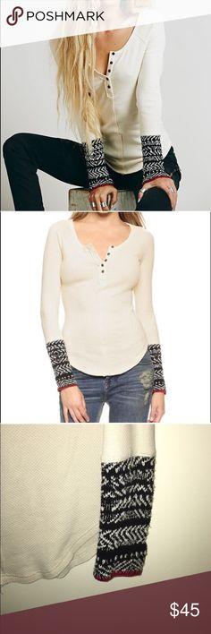Free people waffle weave thermal So warm, but SO sexy too! This gorgeous oatmeal colored, cotton thermal is edged with a Nordic sweater sleeve & sweet buttons at the top placket. Great for layering, great in snow! Perfect for a casual holiday party & this baby looks downright HOT in leggings & tall boots! Get your cozy sexy on! Worn maybe 2,3 times, in ready to wear conditioncomes from a clean & smoke free home . ❌pp/trades/other websites. Reasonable offers please, lowball offers are…