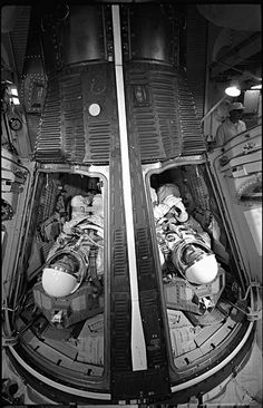 Astronauts James McDivitt and Ed White wait inside the Gemini spacecraft for a simulated launch at Cape Canaveral, Florida, on May 13, 1965