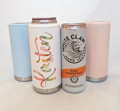 Personalized Stainless Steel Skinny Can Coolers - Hard Seltzer Koozie Wine By The Glass, Secret Santa Gifts, Coffee Cups, Stainless Steel, Canning, Mugs, Unique Jewelry, Tableware, Handmade Gifts