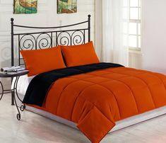 Reversible Down Alternative Comforter Set | Orange/Black