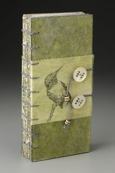 Sharon McCartney, Witness: Birdcalls (cover), Mixed Media Coptic Bound Book with printed and embroidered organdy pages by carrie Handmade Journals, Handmade Books, Handmade Notebook, Handmade Crafts, Handmade Rugs, Artist Journal, Book Journal, Journal Covers, Art Journaling