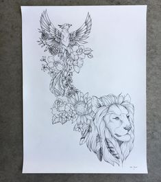 Completed another large scale tattoo design for a client of mine. Was really fun… Completed another large scale tattoo design for a client of mine. Was really fun to try some new animals! Detail pictures coming soon. Large Tattoos, Pretty Tattoos, Animal Tattoos, Flower Tattoo Designs, Lion Tattoo, Sleeve Tattoos, Phoenix Tattoo Design, Scale Tattoo, Tattoo Designs