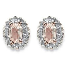 .94 TCW Oval Genuine Morganite and Topaz Halo Stud Earrings in Rose-Plated Sterling Silver