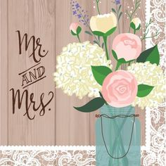 "Rustic Wedding ""Mr. and Mrs."" Napkins, 16-Pack"