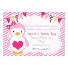 Girly Sweetheart Penguin Valentine Birthday Party Announcement