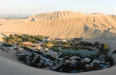 The huacachina Oasis in Peru - famous for its sandboarding and dune buggy rides