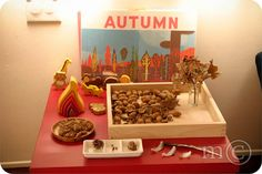 Herfst tafel met de houten vlam ( http://houtspel.nl/stapelen/36-stapel-element-vuur.html )