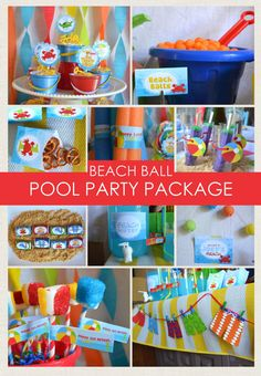 Beach Ball Party Package / Beach Party / Pool Party / Sea Creatures / Party Decorations / First Birthday / Under the Sea /Whale Crab Turtle Water Birthday Parties, Beach Ball Birthday, Beach Ball Party, Boys First Birthday Party Ideas, Birthday Themes For Boys, 1st Boy Birthday, Summer Birthday, Beach Ball Cake, Colorful Birthday