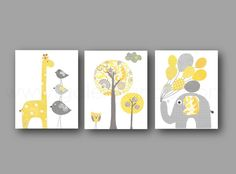 jaune et gris kids room decor elephant ballon girafe oiseau - Decoration Chambre Bebe Jaune
