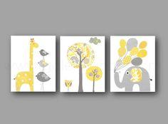 Yellow and gray Kids Room Decor elephant balloon giraffe bird Tree Home Decor Baby wall art - Set of three prints