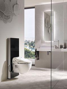 #Geberit #AquaClean 4000 with Geberit sanitary module #Monolith. #Showertoilet