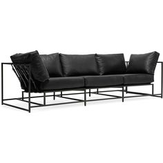 Inheritance Leather Sofa - Black Leather & Blackened Steel Frame