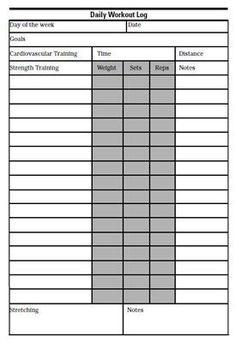 printable workout log  workout template workout sheets
