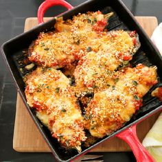 Eggplant Parmesan with Fresh Mozzarella - no slicing, salting, breading or frying required!