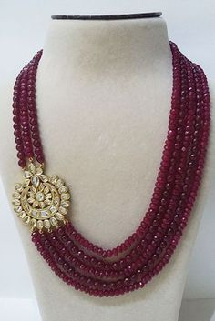 Multi Strand Red Stone 14K Gold Plated CZ Kundan Side Brooch Pendant Necklace #TarunaBiyani #StrandString