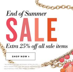 End of summer sale shop get an extra 25% off from Aug 26-Sept 2!!!    http://www.stelladot.com/shop/en_ca/sale/sale-all?icn=end_of_summer_sale_2014q3&ici=mobile_homepage_shop_ca