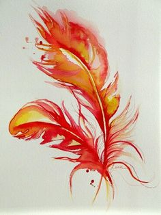 Watercolour fire feathers.