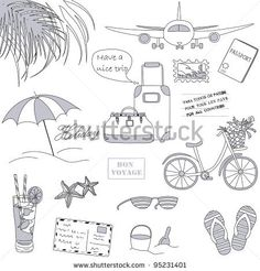 Set of the doodle sketches. Vacations travel theme. - stock vector