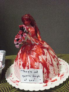 Carrie for Prom Queen cake--gotta do this for my Stephen King themed Halloween party someday!