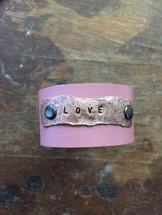 Upcycled belt cuff with salvaged copper. #SteelShopDesigns. https://www.facebook.com/SteelShopDesigns/