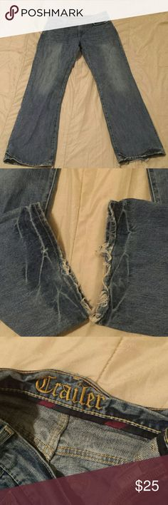 "Trailer Men's Jean's Dark Fade Bootcut Relaxed Semi-distressed relaxed with frayed hems make these jeans a stylish must have. Every man loves that dark faded look that makes them look hot. The jeans are in excellent condition and purchased as they look.  Waist 34"" Length 34"" Jeans Bootcut"