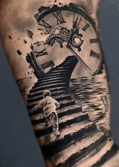 Our Website is the greatest collection of tattoos designs and artists. Find Inspirations for your next Clock Tattoo. Search for more Tattoos. Best Sleeve Tattoos, Tattoo Sleeve Designs, Clock Tattoo Sleeve, Tattoo Clock, Sleeve Tattoo Men, Broken Clock Tattoo, Clock Tattoo Design, Forearm Tattoos, Body Art Tattoos