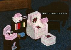 Plastic canvas doll house furniture. My mom made me this furniture for my barbie doll house.