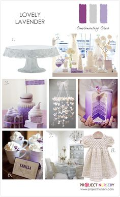 Design board filled with inspiration for a lavender baby shower or sprinkle.