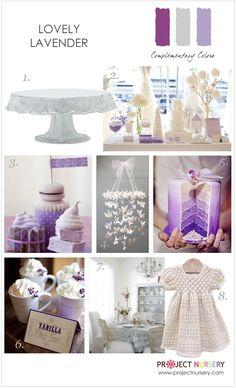 Design board filled with inspiration for a lavender baby shower or sprinkle.