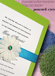 pear green wedding invitations with turquoise band, embossed flower and aquamarine crystal brad $1.30