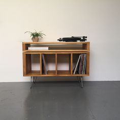 Stacked TV, Media Console, Vinyl Record Storage, Solid Wood on Mid Century Hairpin Legs. by DerelictDesign on Etsy https://www.etsy.com/uk/listing/493909162/stacked-tv-media-console-vinyl-record