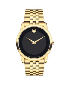 Movado | Museum Men's Yellow Gold PVD-finished Stainless Steel Bracelet Watch With Black Dial | Movado CA