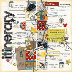 Itinerary - MouseScrappers - Disney Scrapbooking Gallery; layout by andrea4376