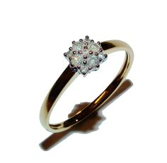 Fully Hallmarked 9ct Yellow Gold &  0.15ct Diamond Fancy Cluster Ring -UK Size O
