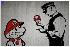 Super Mario Banksy Graffiti Spray Painting Stenciling