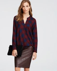 Image of Checkered Crepe Wrap Blouse
