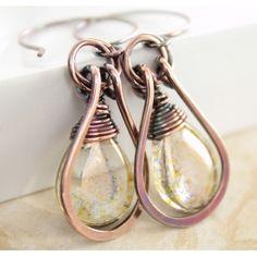 Dangle glass copper earrings with framed metallic plum with moss green Czech glass briolette